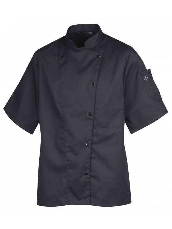 Veste de cuisine femme manches courte noir